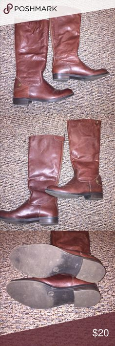 Brown Leather Riding Boots Brown Leather Riding Boots !! Gently Used. No rips or tears !! Good conditions. Size 5 1/2. Zipper on back with snap at the top!! Shoes Heeled Boots