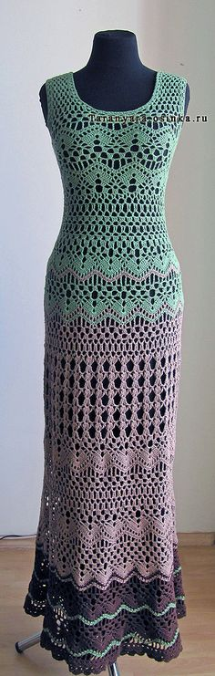 Vestido longo de crochê by Agostina Bianchi ☞a pretty dress. Preference-wise, I'd enjoy a different colorway, perhaps, but still a lovely dress! Gilet Crochet, Crochet Lace, Crochet Tops, Crochet Skirts, Crochet Clothes, Clothing Patterns, Dress Patterns, Knit Dress, Dress Skirt