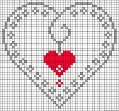 Cross-stitch Heart Love pattern... no color chart available, just use pattern chart as your color guide.. or choose your own colors...