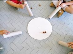 Fall Games (site in Spanish) Drop an acorn through the tube and try to get it to land and stay in the circle; drop leaves above hula hoop, etc. Oral Motor Activities, Sensory Activities, Preschool Activities, Kindergarten Science, Waldorf Preschool, Fall Preschool, Science Experience, Fall Games, Pediatric Occupational Therapy