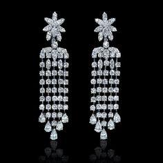 Diamond 18k White Gold Chandelier Earrings in Jewelry & Watches, Fine Jewelry, Fine Earrings | eBay