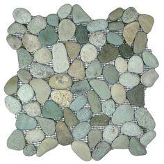 Sea Green Pebble Tile - modern - Bathroom Tile - Other Metro - Pebble Tile Shop shower floor Pebble Tile Shower Floor, Pebble Mosaic Tile, Stone Tiles, Mosaic Glass, Mosaic Pots, Mosaic Garden, Mosaic Stones, Modern Bathroom Tile, Bathroom Ideas