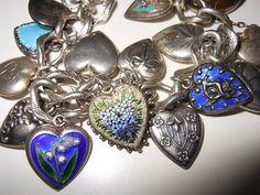 Vintage 1940's Sterling Silver & Enamel Puffy Hearts Padlock Charm Bracelet 16 | eBay