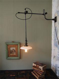 Rare Lampe O C White Industrielle applique scissor