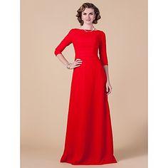 vaina / columna barco piso de longitud gasa madre del vestido de la novia – USD $ 179.99