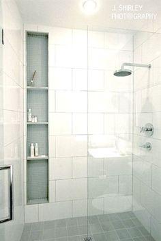 New bathroom modern white shower niche ideas Bathroom Renos, Bathroom Flooring, Bathroom Renovations, Bathroom Storage, Design Bathroom, Rental Bathroom, Bathroom Cabinets, Bathroom Bin, Flooring Tiles