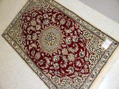 レッドカーペットの玄関マットペルシヤ絨毯手織り55006、玄関カーペットのペルシャ手結び