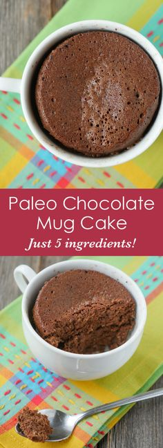 An easy Paleo Chocolate Mug Cake that you can make in 2 minutes!! You just need five ingredients!