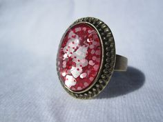 Oval Nail Polish Ring  Bright Red With White by SimplyBornCrafty, $7.99