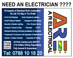 All aspects of Electrical work undertaken. Wakefield, West Yorkshire.     - Full and/or Part Rewires    - Fuseboard/Consumer Unit Upgrades    - Earthing Upgrades    - Sockets    - Lighting   - CCTV    - Fire/Smoke Alarms    - Showers    - Cookers  Hobs   - Garages and Outbuildings    - Fault Finding   - Inspection  Testing    All work carried out to BS 7671 17th Edition Wiring Regulations, Fully Insured  Guaranteed.