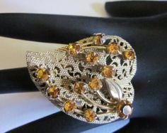 Rings,Heart, Heart Ring, Bling, Vintage, Statement, Free U.S. Shipping Big Bold Statement Ring Cocktail Ring, Topaz Ring, Yellow Rhinestone
