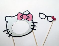 Hello Kitty Photo Booth Prop Mask & Glasses with Glittered Hello Kitty Bow. $10.00, via Etsy.