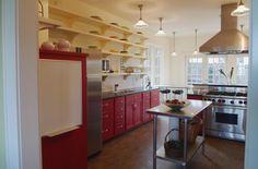 Beautiful Colourful Home Design Inspiration: Sleek Kitchen Stadium Addtion And Baths Ideas Red Cupboard Door Linoleum Flooring, Cork Flooring, Kitchen Flooring, Floors, Floor Design, House Design, Red Cabinets, Eclectic Kitchen, Cupboard Doors