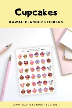 These kawaii deco stickers are perfect for the cupcake loving planner addict. Kawaii Planner, Best Planners, Planner Supplies, Cute Cupcakes, Hobonichi, Letter Writing, Life Planner, Handmade Shop, Paper Goods
