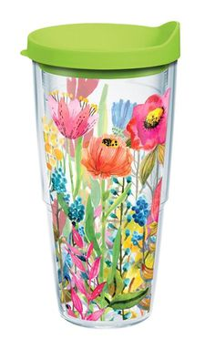 Tervis Watercolor Water Flowers Wrap Tumbler with Lime Green Lid, 24 oz, Clear Keeps cold drinks cold Co-polyester BPA and Melamine free construction Freezer & dishwasher safe Unconditional Lifetime Guarantee Made in America