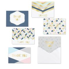 Handwritten messages mean so much to those who receive them! This Geo Shapes Thank You Set is versatile and great to have on hand. Thank You Note Cards, All Holidays, Personalized Stationery, Luxury Gifts, White Envelopes, Baby Clothes Shops, Mother Day Gifts, House Warming, Kids Shop