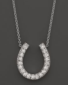 Just like Carrie Bradshaw's: Horseshoe Diamond Pendant Necklace in White Gold, ct. Gold Jewelry, Fine Jewelry, Women Jewelry, Liberty Jewellery, Horseshoe Necklace, Diamond Pendant Necklace, Brilliant Diamond, Diamond Stone, White Gold
