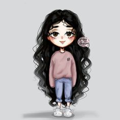 Girl Drawing Sketches, Cute Girl Drawing, Girly Drawings, Anime Curly Hair, Curly Hair Drawing, Disney Stich, Girly M, Cute Cartoon Girl, Cartoon Art Styles
