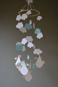 Cloud and baby in a blanket nursery mobile / baby mobile made from off white and baby blue card stock --- Handmade mobile or nursery decor door SierGoed op Etsy