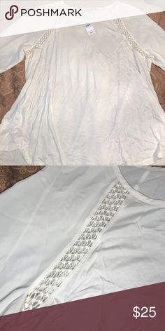 Lacy Relaxed Top New, NEVER BEEN WORN. Size large. Cream lacy mixed media 3/4 length sleeve blouse. LOFT Tops Blouses