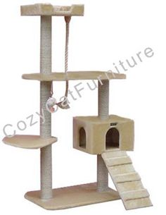 """Kitty Cat Furniture  - Overall size 58""""Hx38""""Lx28""""W  - Board material Pressed Wood  - Covering material Faux Fur  - Base 28""""x18""""  - Max holding weight 40lbs  - 1 large cat condo 15""""Lx12""""Wx10""""H with two 6""""Wx8""""H entries  - 3 level stairway attached to cat condo  - 1 flabellate shape plate 21""""x16""""  - 1 large nest 14""""x14""""x3""""  - 5 sisal cat scratching posts. They measure 3.5"""" and are wrapped in 1/4"""" sisal rope  - Extra 1"""" thick sisal play rope"""
