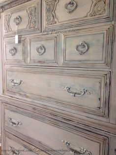 French Gray Antique Dresser refinished in CeCe Caldwell's Paints. I layered various colors to achieve this Parisian old world look. This piece has been sealed with clear and dark wax. CeCe Caldwell Chalk & Clay Paint is 100% Natural, it does not contain chemicals, safe for your family and the environment. And it is Made in the USA!