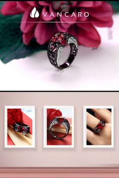 59463b6b0 Heart Shaped Lab-created Ruby 925 Sterling Silver Black Angel Wing Ring  Black Angel Wings