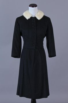 Medium 50s-60s Vintage Utah Tailoring Mills Black Blin & Blin French Woolen Skirt Suit w/ Fur Collar. A gorgeous high-quality skirt suit - classic & sophisticated! $140 via eBay
