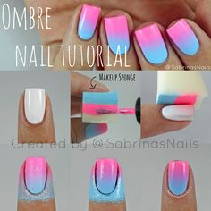 Three Color Ombre Nails Tutorial Tools: three nail polishes and a foundation spoonge.