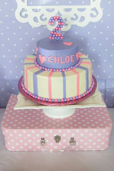 Cute cake at a Doc McStuffins Birthday Party!  See more party ideas at CatchMyParty.com!