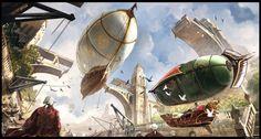 Artwork by Min Nguen #Fantasy #Airship #Digitalart