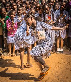 Makumbaya Lower Basic School, Makumbaya Village, The Gambia, West Africa Shall We Dance, Lets Dance, Beautiful Children, Beautiful People, Mama Africa, African Dance, Dance Fashion, People Of The World, African Women