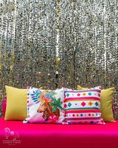 Décor: Aash Studio   Illustration: Tripat Kaur Kang   📸: Nayan Khandelwal   Mehendi decor ideas   Mirror backdrop   Personalized cushions   #cushions #illustration #decor #backdrop #mehendidecor #indianwedding #weddingdecor #weddinginspiration #wittyvows Quirky Decor, Colorful Decor, Indian Wedding Planner, Destination Wedding, Indian Mehendi, Good Times Roll, Indian Wedding Decorations, Wedding Seating, Wedding Designs