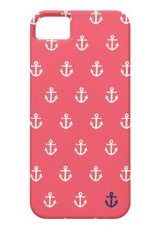Pink and Navy Anchor Phone Case