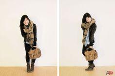 leather #jacket x blanket #scarf x Proenza Schouler PS1 leather #bag :: Caffé Macchiato