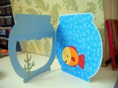 Fish bowl card- create a critter cartridge. add equation at the top Kids Cards, Baby Cards, Art For Kids, Crafts For Kids, Create A Critter, Ideias Diy, Paper Crafts, Diy Crafts, Shaped Cards