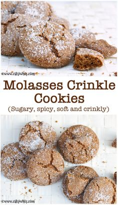 MOLASSES CRINKLE COOKIES. These are crispy, sugary and crinkly on the outside and insanely soft on the inside! From cakewhiz.com