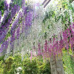 6X Artificial Silk Wisteria Fake Garden Hanging Flower Vine Wedding Plant Decor | eBay