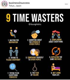 9 types of time wasters. Study Motivation Quotes, Business Motivation, Business Quotes, Positive Motivation, Self Development, Personal Development, Life Skills, Life Lessons, Time Wasters