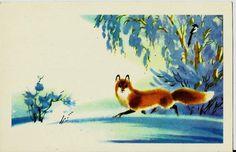 Fox in winter wood - vintage  Russian postcard