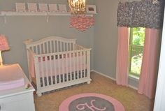 Pretty pink and gray.  I originally wanted pink and brown when the time comes for a little girls room but I love this!