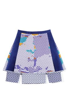 Blue Graphic Print Skirt by Ostwald Helgason Now Available on Moda Operandi