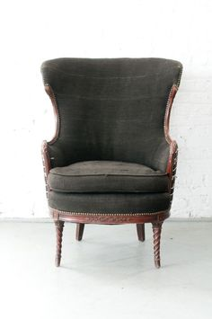 mudcloth chair with upholstery brads