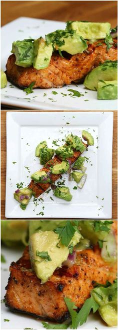 Salmon with avocado salsa https://www.buzzfeed.com/robertbroadfoot/salmon-salsa-fun