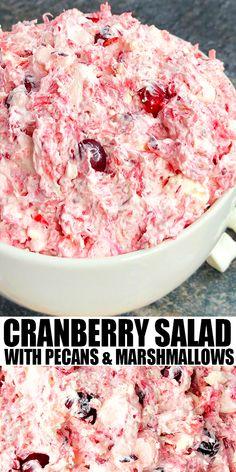 Creamy Cranberry Salad (One Pot) - One Pot Recipes - Holidays Brownie Desserts, Oreo Dessert, Mini Desserts, Cranberry Salad Recipes, Easy Salad Recipes, Side Dish Recipes, Top Recipes, Thanksgiving Recipes