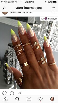 Pixie fairy dust with neon yellow ombré tips on stiletto nail art Thinking of this for a Next set Neon Nails, My Nails, Neon Yellow Nails, Gorgeous Nails, Pretty Nails, Crome Nails, Neon Nail Designs, Chrome Nails Designs, Stiletto Nail Art