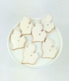 Michigan Wedding Cookie Favors - White - Sugar Cookies by PSSweet on Etsy