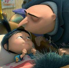 Goodnight kisses - Agnes and Gru - Despicable Me Cartoon Movies, Cartoon Pics, Movie Characters, Cute Cartoon, Agnes Despicable Me, Minions Despicable Me, Happy Minions, Disney And Dreamworks, Disney Pixar