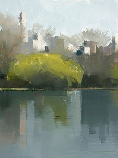 Lisa Breslow, Central Park Lake 1 2012, Oil and pencil on panel