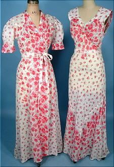 c. 1930's Peignoir Set of Printed Cotton (Nightgown and Matching Robe with Tie Belt)